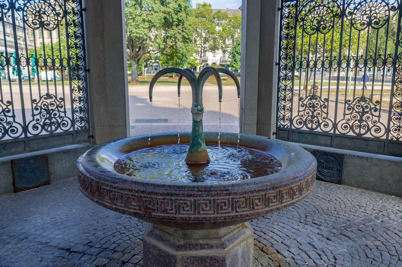 fountain, water, drinking fountain, day, architecture, no people, built structure, flower, outdoors, tree, nature, freshness
