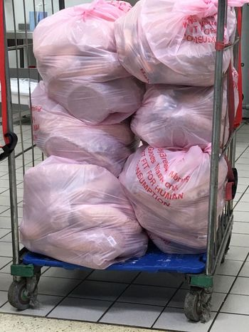 Waste Wasting Food Food Waste Awareness Food For The Bin Food Waste Past The Sell By Date, Out Of Date, Bread Bags Of Bread Not For Sale Sad Waste Of Food Supermarket