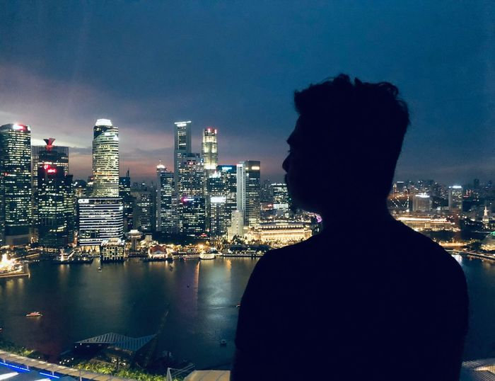 A view from Marina Bay Silhouette Architecture Built Structure Building Exterior Cityscape City Building Illuminated Urban Skyline Night
