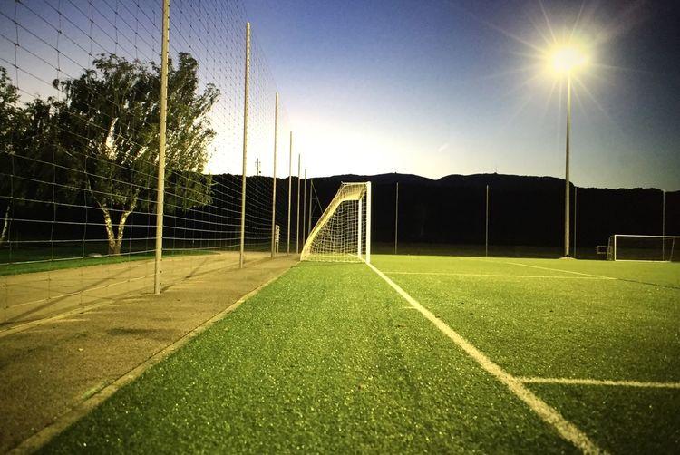 Football Stadium Nightphotography Football Grass Green Goal
