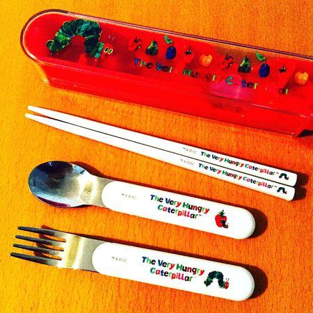 Garfo Colher Chopsticks Minhafilha Jardim De Infancia Lagarta Caterpillar Lunch Almoço Eric Carle
