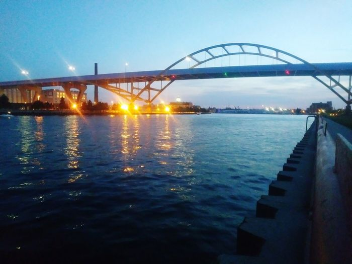 River View Port Of Milwaukee City Water Watermill Bridge - Man Made Structure Sunset Business Finance And Industry Steel Sky Architecture Built Structure