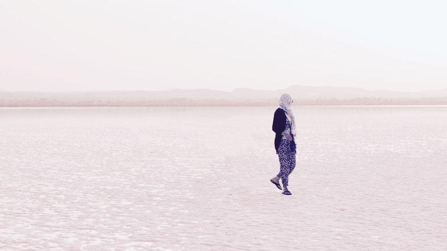 Woman Standing In Salt Lake