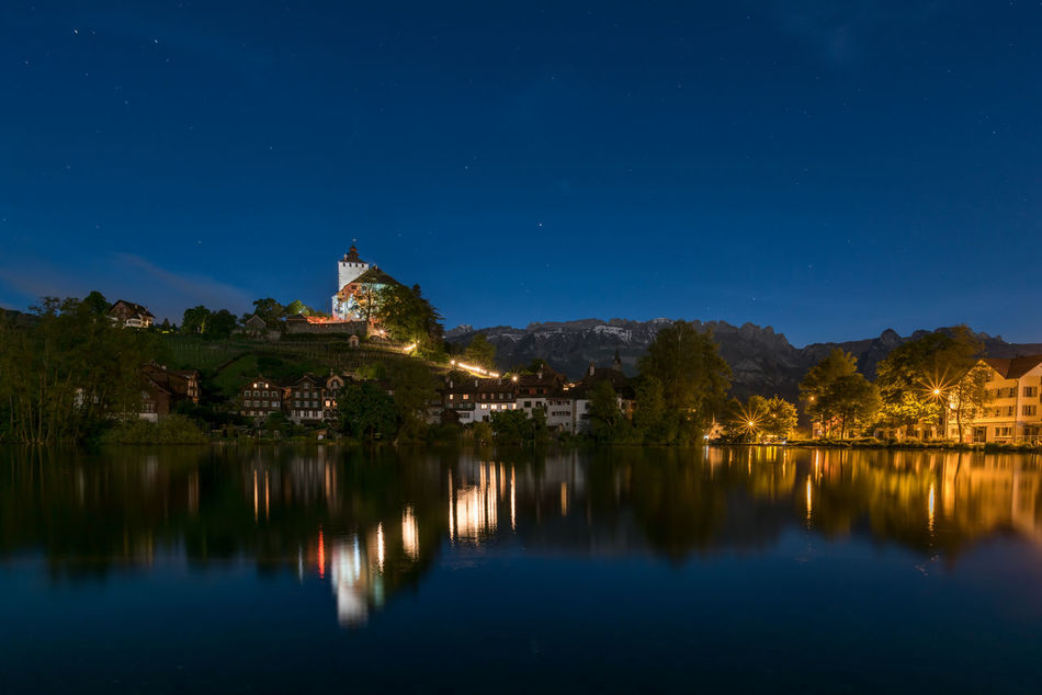 Schloss Werdenberg Castle Grabstein Nightphotography Werdenberg Architecture Beauty In Nature Building Exterior Built Structure Galaxy Illuminated Lake Moon Mountain Nature Night No People Outdoors Reflection Rheintal  Sky Star - Space Tranquility Water Waterfront
