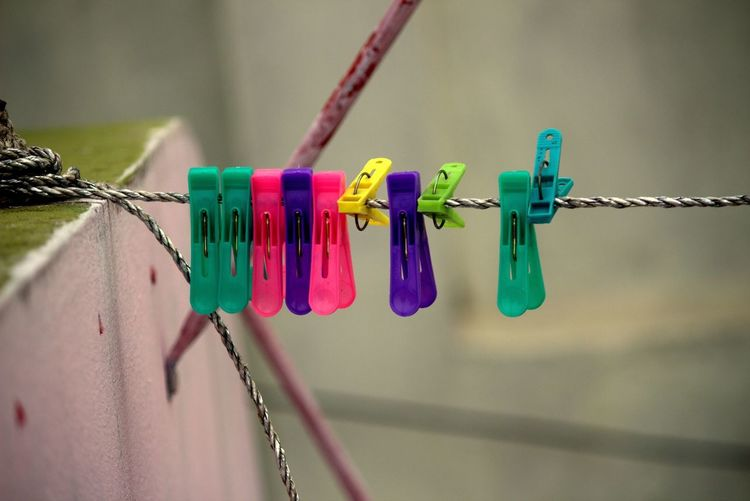 Neon Life Clothesline Hanging Clothespin Multi Colored Clothing Variation Hygiene Drying Indoors  Close-up Professional Canon700D Eveningtime Canonphotography