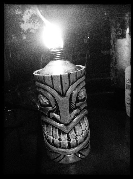 Tiki time Close-up No People Outdoors Shadow Tiki Torch Black And White Photography Torches Smiling Indoors  Day