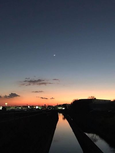 Sunset Moon Sky Scenics Beauty In Nature Nature Tranquil Scene Outdoors Water No People Astronomy Night Tranquility Architecture