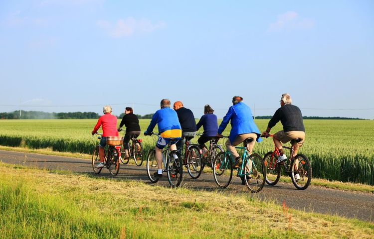 Group of seniors riding bicycles in a field in central France. Cycling Friends Cycling Around Cycletour Seniors Doing Exercise  Healthylife EyeEm Best Shots Lifestyle Sports Day  Hanging Out