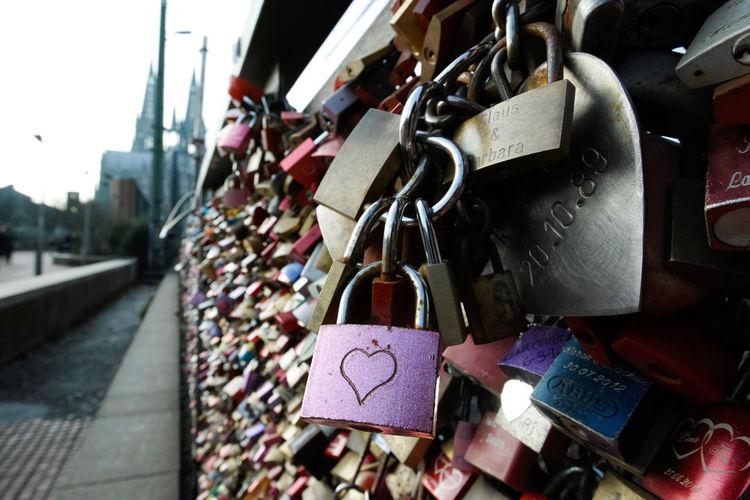 Close-Up Of Love Locks At Hohenzollern Bridge