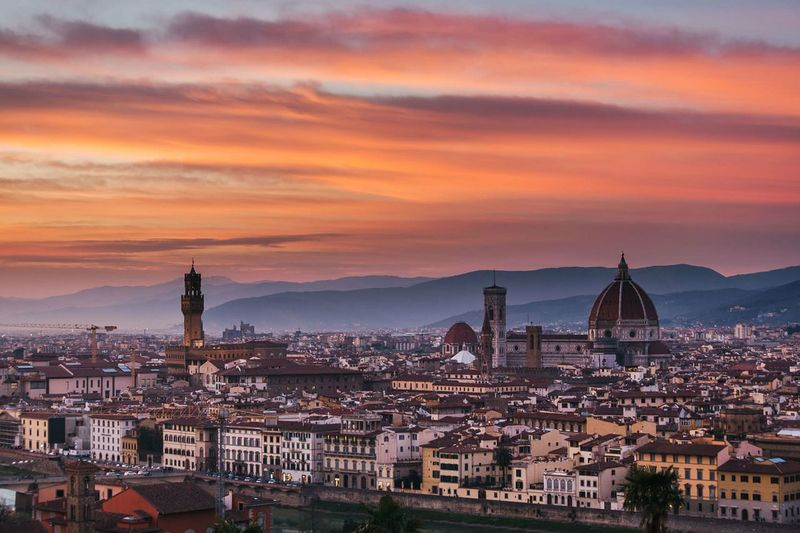 City Sunset Cityscape Architecture Skyscraper Urban Skyline Sky Outdoors No People Florence Italy Florence Firenze Piazzale Michelangelo City Sunset Pontevecchio