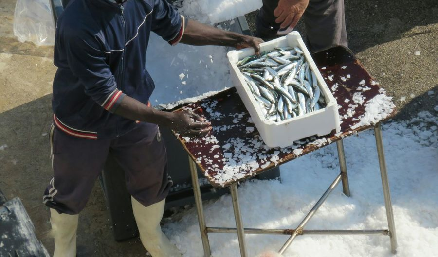 High angle view of fisherman with fish in box by ice crushing machine at harbor