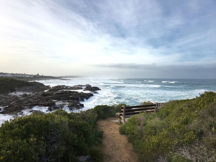 Travel Destinations Beach Walks On The Beach  Beauty In Nature Sea Scenics Day Horizon Over Water Tranquility Outdoors No People Wave Benches Lookout Hermanus South Africa