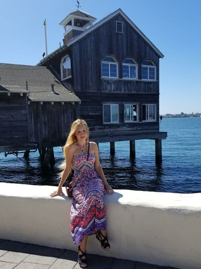 One Person One Woman Only Only Women Built Structure Day Outdoors Architecture Water Blond Hair People Sea Travel Destinations EyeEm USA Spanish Girl Spanish Woman San Diego Seaport Village San Diego Travel Destination