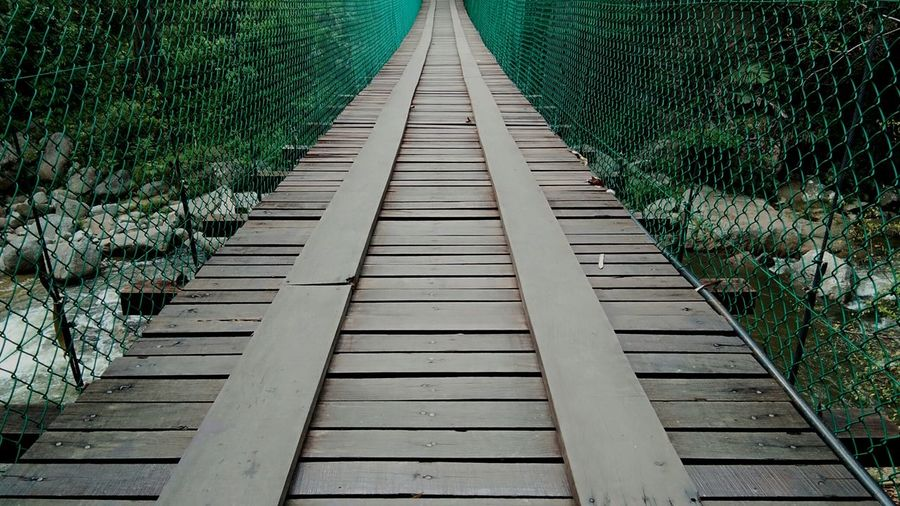 Surface level of footbridge along trees