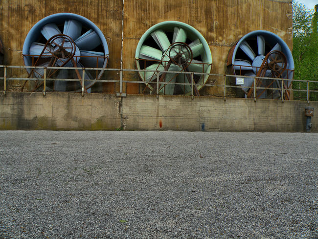 huge fans in Landschaftspark Duisburg-nord Factory Technology Industry Architecture Turbine