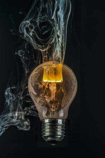 Art ArtWork Black Background Broken Glass Damage Electricity  Energy Experiment Explosion Filament Flashlight Glimmering Lamp Socket Light Light Bulb Light Source Orange Color Physik Smoke Smoke - Physical Structure