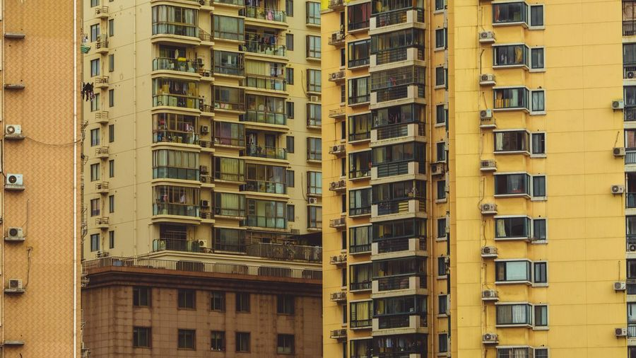 Architecture Window Building Exterior Day Skyscraper Yellow Built Structure Full Frame Outdoors No People City Apartment