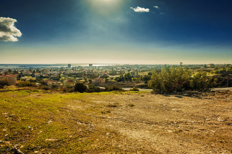 Beauty In Nature Blue Colour Blue Skies Cityscape Clouds And Skies Cyprus Day Field Growth Horizon Over Water Landscape Landscape_Collection Landscape_photography Limassol Nature No People Outdoors Sky Tree