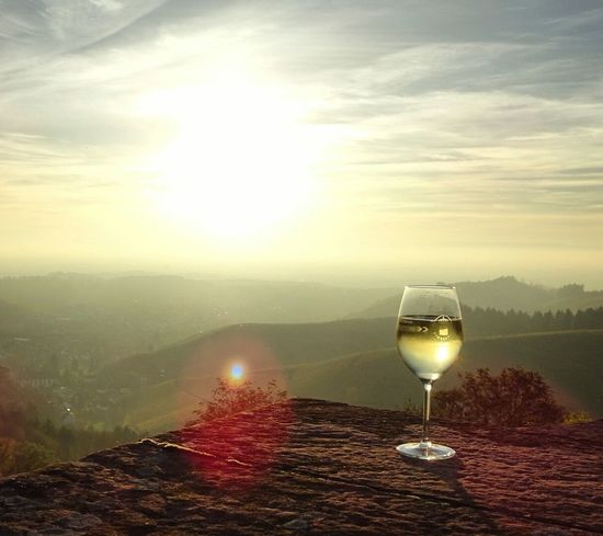 Wein Drink Alcohol Drinking Glass No People Sunset Landscape Scenics Wineglass Outdoors Sunlight Mountain Wine Sonnenuntergang Weinberg Whitewhine Riesling Durbach Germany Offenburg Nature Refreshment