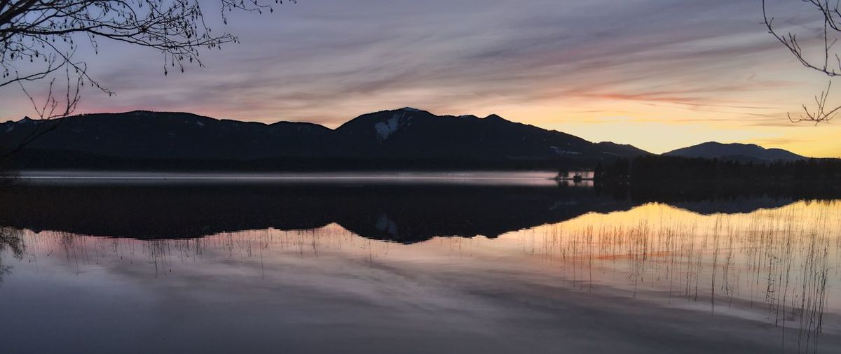 Beauty In Nature Cloud - Sky Idyllic Lake Lake View Mirror Reflection Mountain Nature No People Non-urban Scene Reflection Reflection Lake Scenics - Nature Silhouette Sky Sunset Symmetry Tranquil Scene Tranquility Tree Water Waterfront