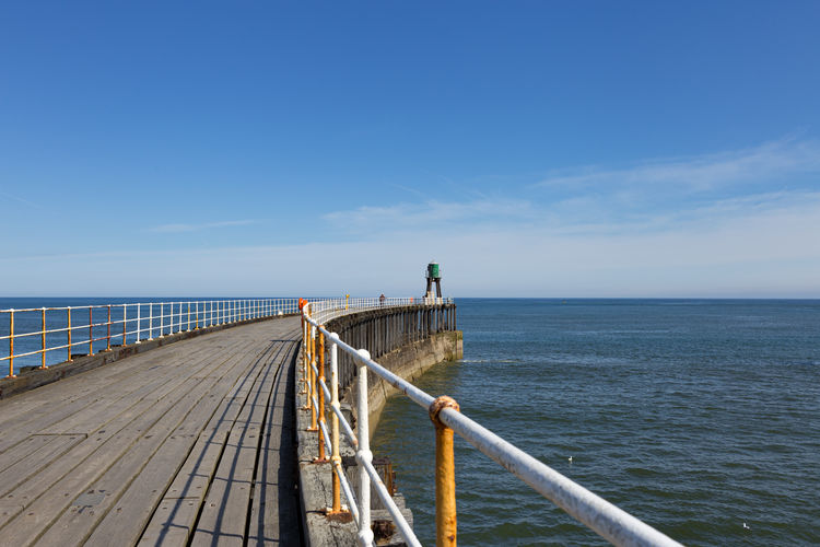 Travel Photography Travel Destinations Staycation Uk England Sky Sea Water Horizon Over Water Beauty In Nature Horizon Scenics - Nature Railing Tranquility Tranquil Scene Blue Day Direction Idyllic The Way Forward Copy Space Outdoors Pier Seaside Whitby Yorkshire Coast