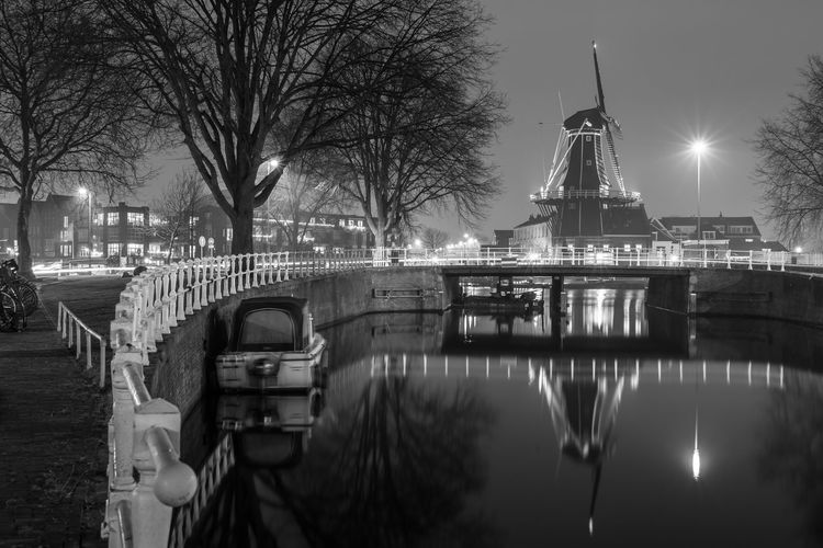 Adrian's Mill Adriaan Architecture B&w Blackandwhite Bridge - Man Made Structure Building Exterior Built Structure City Cityscape Dutch Europe Haarlem Holland Long Exposure Mono Monochrome Nederland Netherlands No People Outdoors Reflection Travel Travel Destinations Water Windmill