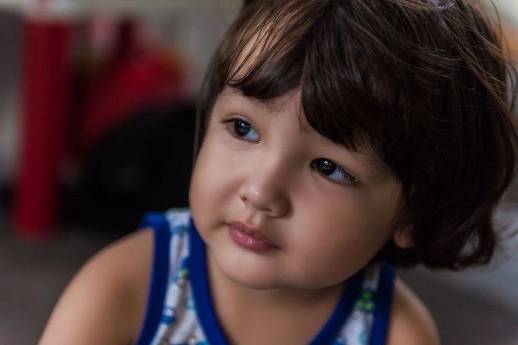 Close-up portrait of cute boy