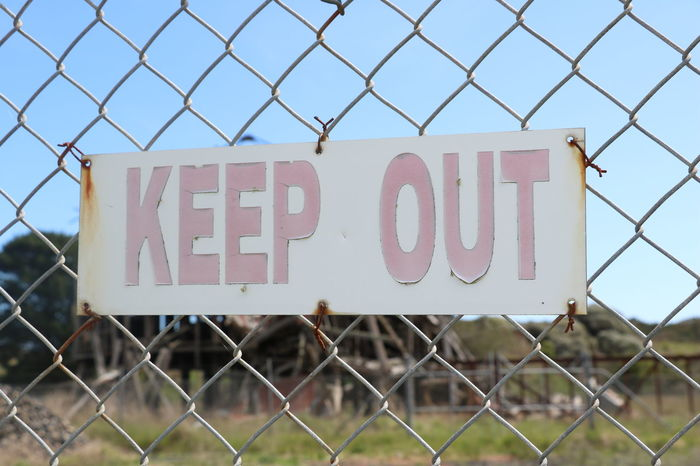 Chainlink Fence Safety Security Protection Day Barbed Wire No People Outdoors Exclusion Wonthaggi Old Mineworks Keepout Sign Warning Sign