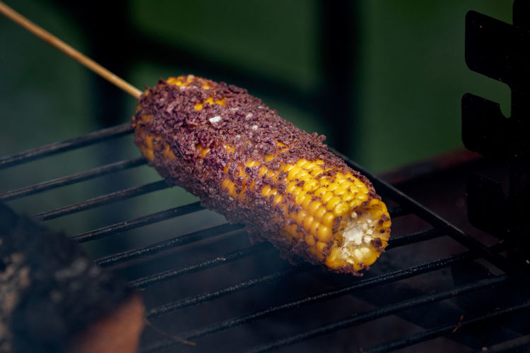 Close-up of corn on barbecue