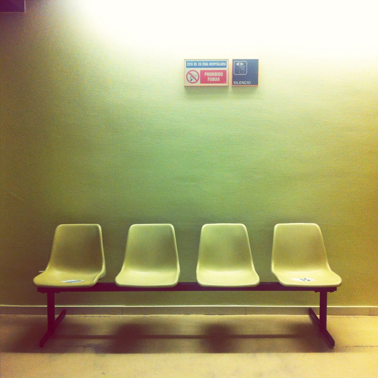 Empty seats in waiting area
