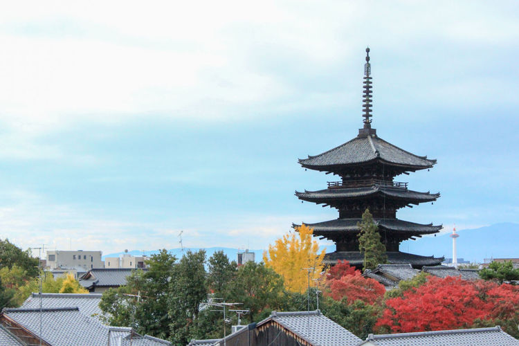 Streets in Kyoto in autumn. 京都 紅葉 秋 青空 雲 自然 Spire  City Outdoors Travel Destinations Day Plant No People Tree Roof Nature Place Of Worship Spirituality Belief Religion Cloud - Sky Building Sky Building Exterior Architecture Built Structure