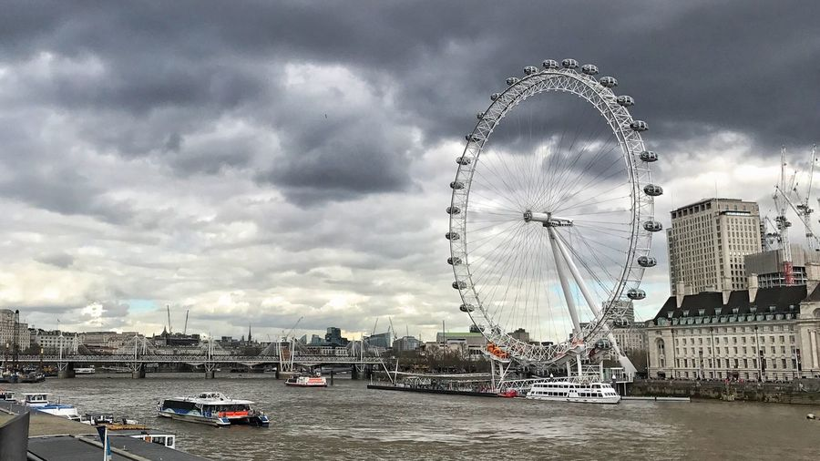 The London Eye London London Eye Cloudy Ferris Wheel City Metropolis Sky Travel Destinations Architecture Thames