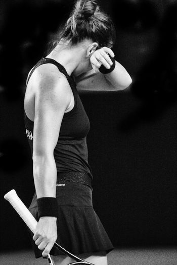 loneliness of high performance athlete Alone Alone In Arena Black And White Body & Fitness Bodydetail Champions Championship Effort Expression Female JournalismPhotography Lifestyles Livestock Match Meditation People Playground Simona Halep Sport Tennis Tennis Match Tennis Player Tension Vision Working
