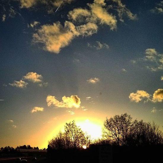 A7 Autobahn Sun Sunset Photoarena_sunset Sungoesdown Skyisburning Sky Heaven Cloud Clouds Trees Tree Shades Shadow Twilight