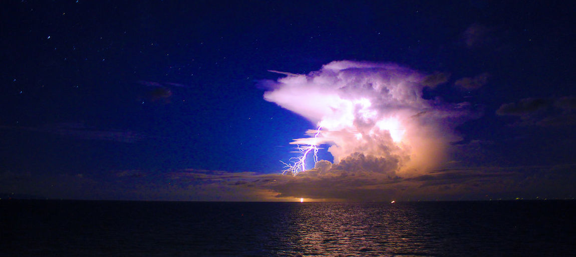 Lightning at Sea Beauty In Nature Cloud - Sky Horizon Horizon Over Water Illuminated Lighting Moonlight Motion Nature Night No People Outdoors Power In Nature Reflection Scenics - Nature Sea Seascape Sky Thunder Thunder Clouds Thunderstorm Tranquil Scene Tranquility Water Waterfront