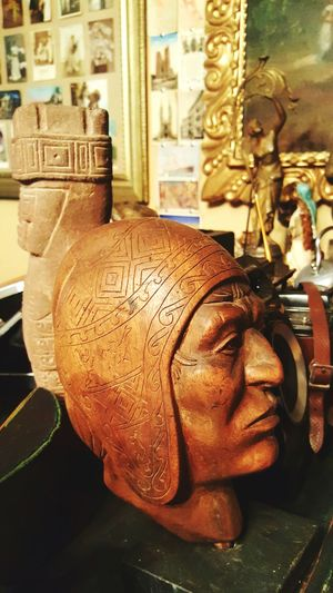 Brown Indoors  Men One Person Old Antique Aymara HEAD Sculpture Head Sculpture