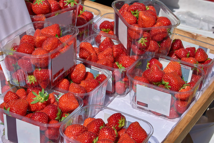 High angle view of strawberries in box