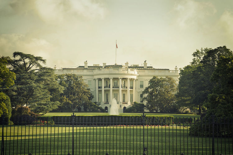 The White House on a spring morning with vintage processing Architecture Cloud - Sky Green Color Morning Presidency Processing South View Spring Sunlight Trees USA Vintage Washington DC White House