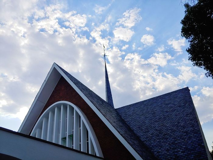 Sky Architecture Building Exterior Built Structure Cloud - Sky Triangle Shape Pyramid Shape Tall - High Cathedral Place Of Worship Tower Spire  Geometric Shape