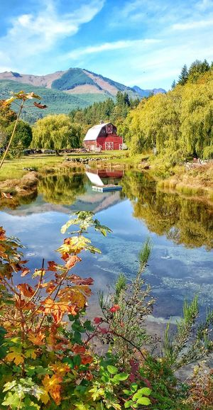 Barn Country Washington Water Tree Mountain Lake Reflection Sky Architecture Country House Countryside Calm Waterfront Cloud