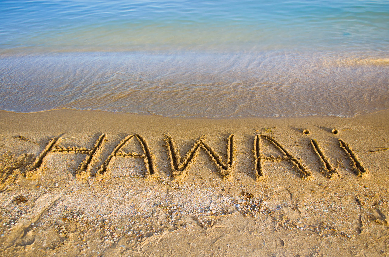 High Angle View Of Text On Sea Shore At Beach