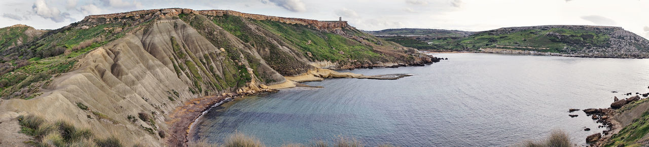 Scenic view of Golden Bay beach in Malta Panoramic view Malta Mediterranean  Panoramic Bay Beach Beauty In Nature Cliff Day Golden Bay Landscape Mountain Nature No People Outdoors Rock - Object Scenics Sea Sky Water Wide Angle