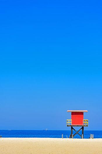 Red beach lifeguard cabin