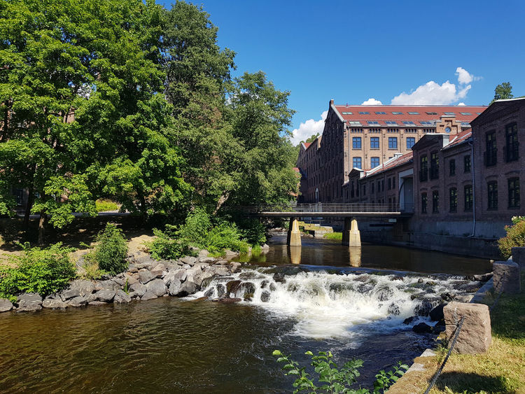 Akerselva (Aker river) in Nydalen, Oslo. Water Tree Built Structure Architecture Plant Nature Building Exterior Motion Flowing Water River Sky Bridge Day No People Bridge - Man Made Structure Outdoors Waterfall