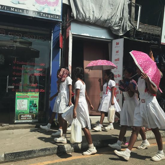 Sri Lanka Students Girls Street Matara