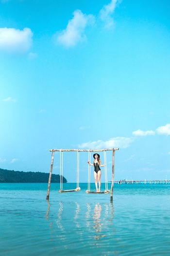 Momentary bliss Blue Sea Sky Activity Water Adults Only Young Adult One Person Full Length Outdoors Adult Sport People Day Vacations Horizon Over Water Nature Travel Photography ASIA Showcase: April Cambodia Fun Dreamy Relaxation Summer The Secret Spaces Lost In The Landscape Connected By Travel
