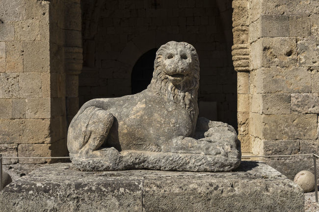 Lion, carved from Lardos stone, with the head of a bull between its paws - Archaeology Museum, Rhodes Lion Ancient Civilization Carving - Craft Product Day Head Of A Bull History Lardos Stone No People Outdoors Sculpture Statue Stone Material