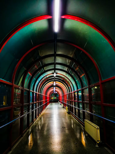 Corridor between the hospital areas, night Corridor Tube Tunnel City Covered Bridge Bridge - Man Made Structure Arch Architecture Built Structure Light At The End Of The Tunnel Underground Walkway Underground Subway Platform Subway Station Underpass Subway Arched