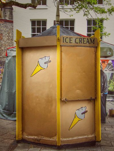 Yellow Communication Ice Cream Market Stall Ice Cream Seller Retail Outlet Food Stall Locked Up Text Day Symbol No People Built Structure Building Exterior