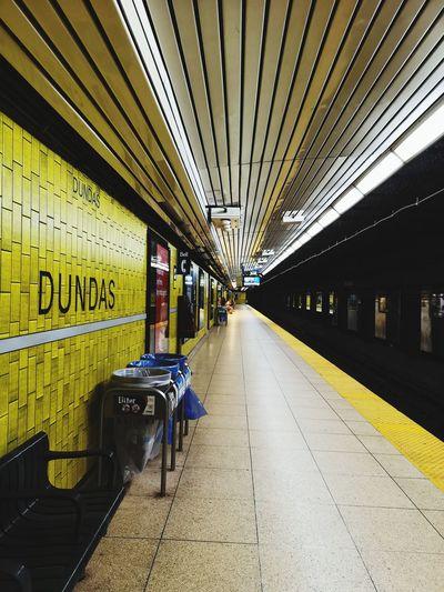 """Dundas. The next station is Dundas station"" Ttc Toronto Railroad Station Platform Railroad Station Architecture Built Structure Subway Train Subway Platform Ceiling Light  Subway Tiled Wall Subway Station"